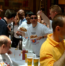 Representing Virginia in the regional heat of the Nathans\' Hot Dog Eating Contest